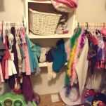 My daughters clothes on e left and dress up clothes on the right.