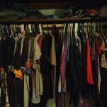 ...and fit everything in my closet after I threw out more clothes (husbands clothes on the left and mine on the right)